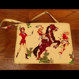 COWGIRL YELLOW  PURSE WITH SEQUIN BEAD CACTI HORSE